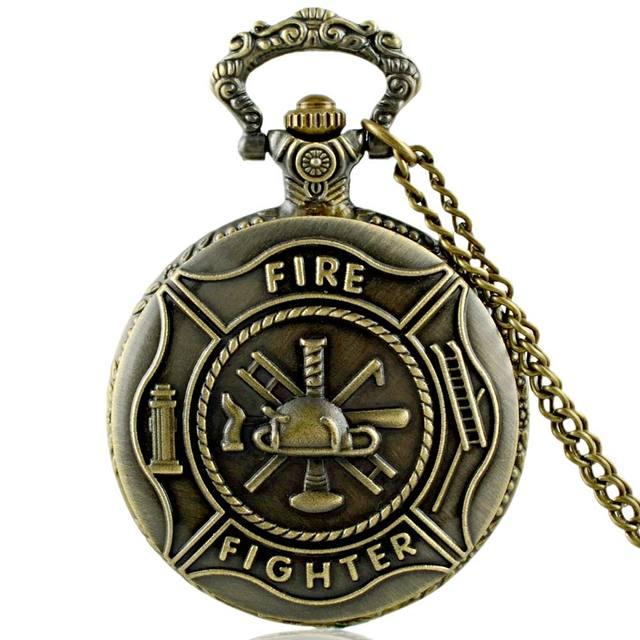 Classic Vintage Bronze Fire Fighter Symbol Quartz Pocket Watch Retro Men Women N