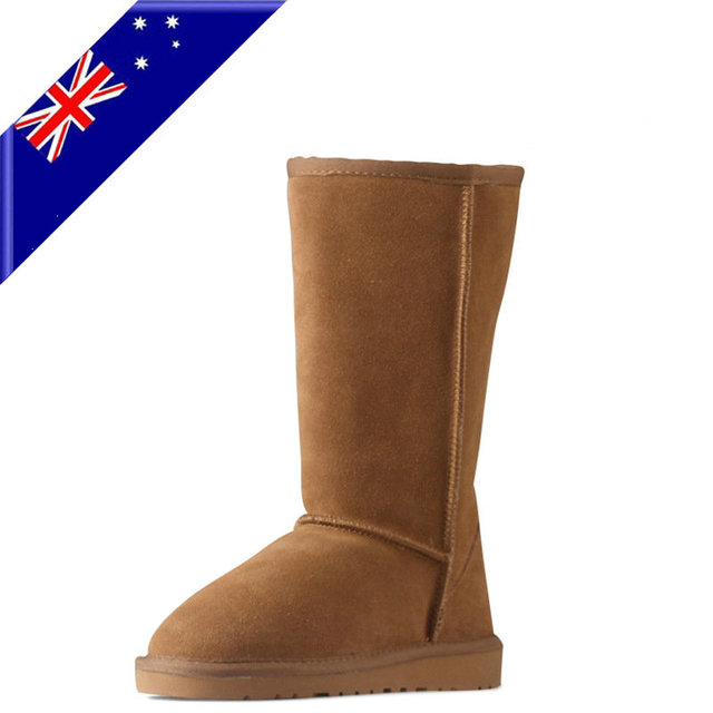 2018 ug Australia Women Snow Boots Real Genuine Leather Female Fur Winter Ankle Boots Warm Women Shoes Waterproof Hand Sewing