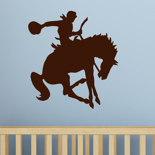 Zooyoo Cowboy Horse Wall Decal Sticker Kids Western Decor Home Decoration Living Room Bedroom Wallpaper