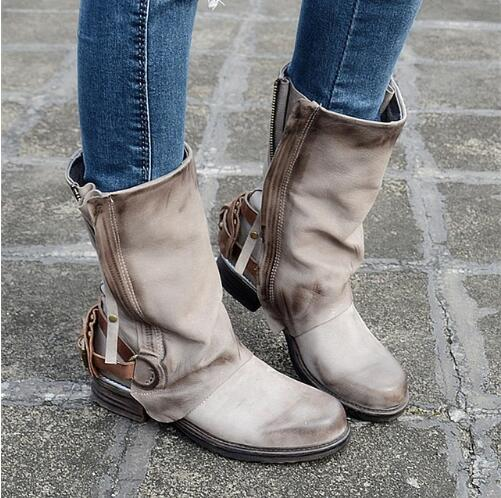 Drop Shipping 2017 Autumn Winter New Fashion Genuine Leather Buckle Zip Retro Mid-Calf Knight Boots Short Boots Big Size 42 double buckle cross straps mid calf boots
