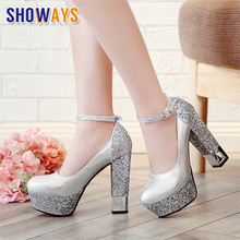 Silver Wedding Bridesmaid Women Platform Pumps High Chunky Block Heels Gold PU Sequined Cloth Party Ankle Strap Red Ladies Shoes