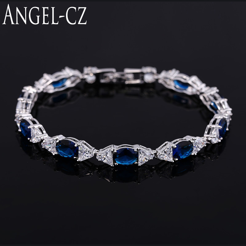 ANGELCZ Noble Oval Dark Blue Cubic Zirconia Connect Bowknot Clear Crystal Women Sterling Silver 925 Bracelets & Bangles AB033