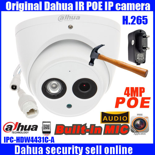 Dahua 4MP IP Camera h.265 PoE Built-in mic IPC-HDW4431C-A IR security cctv Dome Camera onvif DH-HDW4431C-A English firmware hik ds 2cd2t42wd i8 6mm original english version ip camera 4mp ipc onvif poe p2p h 264 cctv camera security camera hd