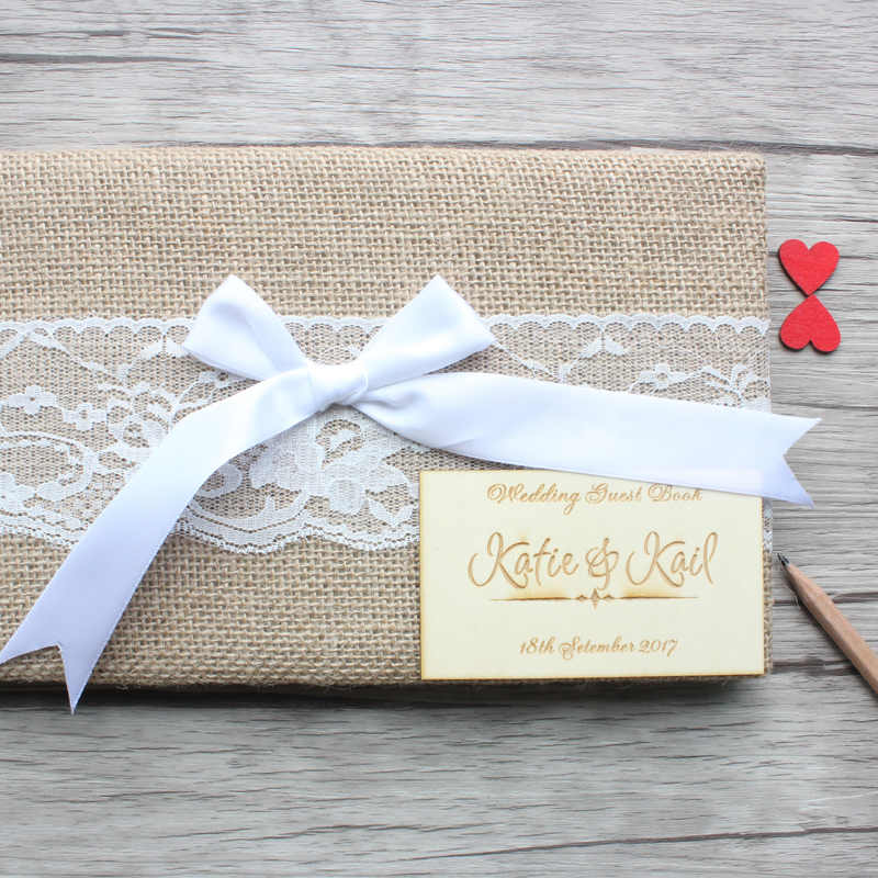 Personalized Wedding Guest Book,Natural Burlap Wedding Guest Book,Rustic Anniversary Sign Book,Custom Engagement Party Decor