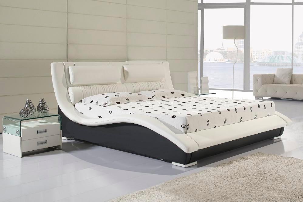 Diseñador cuero genuino verdadero moderna/cama doble rey/reina ...