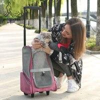 Portable Dog Stroller Removable Linen Material Basket Pack Pet Stroller Four Seasons Dog Crate Pet Supplies
