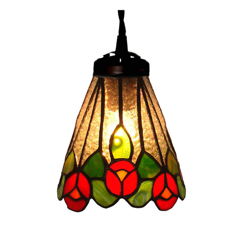 Post Modern Stained Glass Leaf Small Led Hanging Pendant Lamp Light Long Cord Home Deco Bar