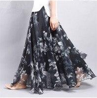 Elegant Fancy Flower Print Black Long Skirt 2019 Women Fashion Elastic Waist Maxi long Big Swing Floral Chiffon Skirts Long Saia