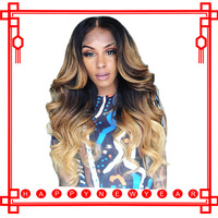 Ombre человеческих волос парик объемная волна 150 плотность Синтетические волосы на кружеве парики 613 Мёд блондинка Цветной 4x4 кружева закрытия