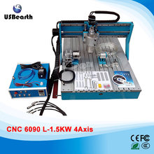 1500W 4 Axes Woodworking Machinery 6090 CNC Wood Router Drilling Milling Machine with Linear Guide Rail