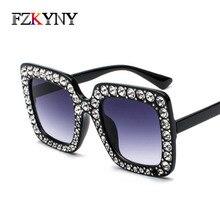 FZKYNY Classic Vintage Elegant Square Sunglasses Women Brand Designer Web Celebrity Diamond Retro Coating Eyewear