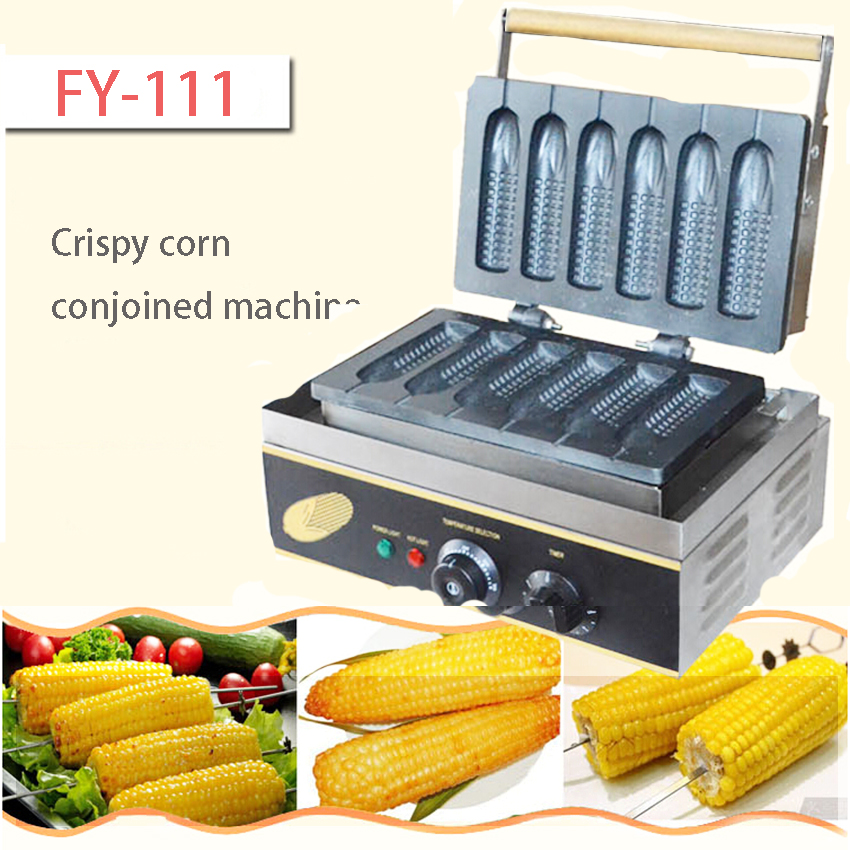 1PC FY-111 Six pieces Commercial corn waffle maker  rench muffin hot dog making machine Grilled corn machine electric muffin corn dog waffle making machine lolly hot dog waffle machine