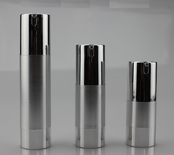 25pcs lot 15ml 30ml 50ml UV Silver Golden Airless Vacuum Pump Lotion Bottle Cosmetic Spray