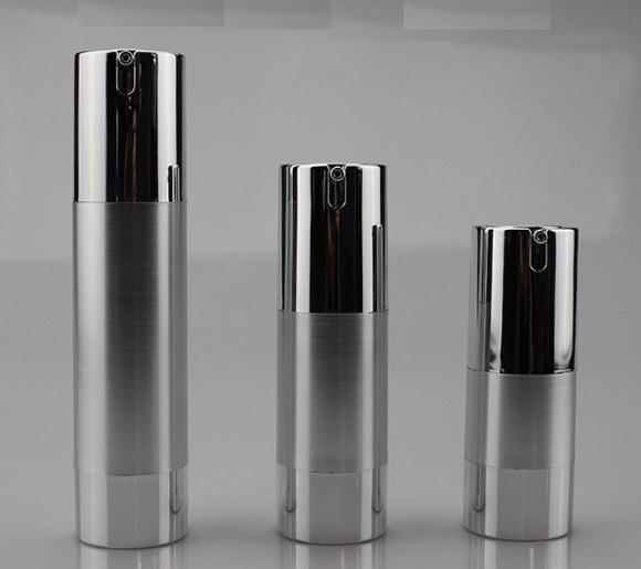 25 stks/partij 15 ml 30 ml 50 ml UV Zilver Golden Airless Vacuümpomp Lotion Fles Cosmetische Spray-in Opslag Flessen & Potten van Huis & Tuin op  Groep 1