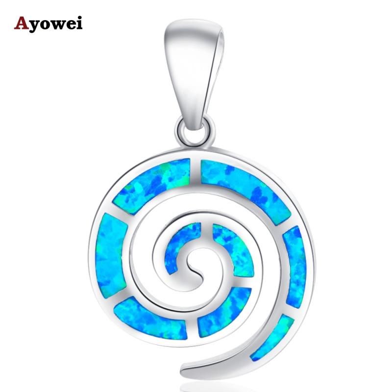 Retail & Grosir Biru fire Opal 925 perak Kalung Kalung Liontin untuk wanita fashion jewelry Partai Ulang Tahun OP271A