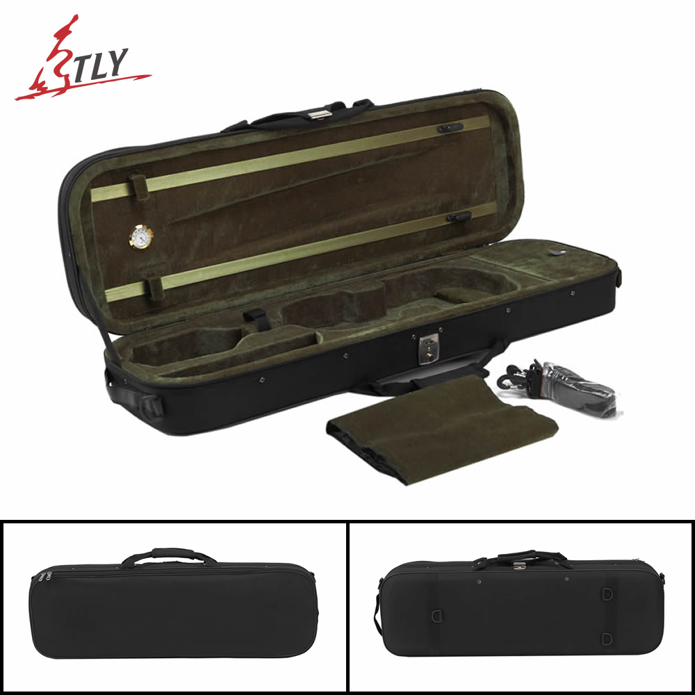 TONGLING Black Oxford Violin Case 4/4 w / Hygrometer High Quality Foamed Violin Case