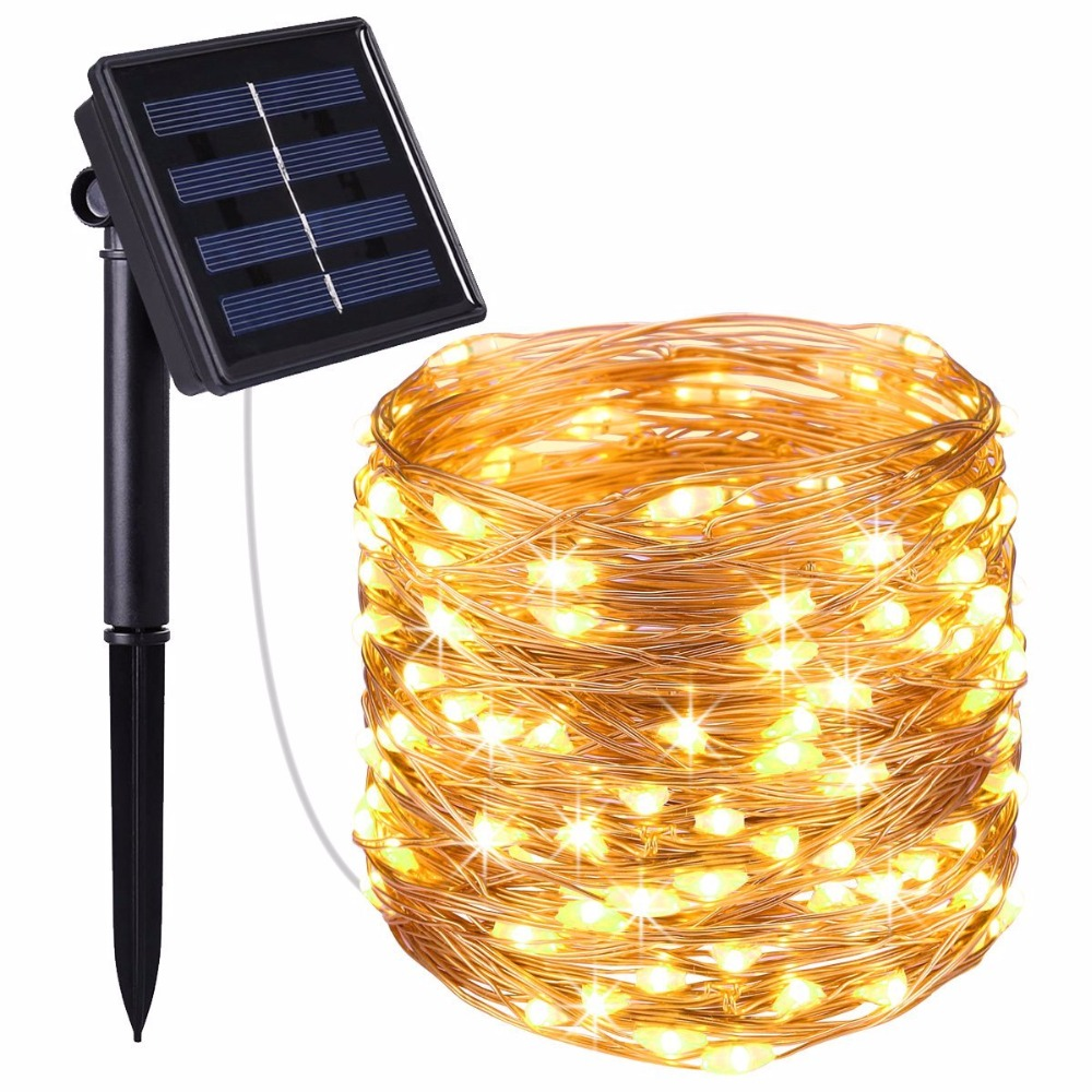 Us 11 33 Solar String Lights 20m 200 Led Copper Wire Fairy Waterproof Christmas Lamp For Garden Decoration In