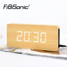 FiBiSnonic Wall Clock Modern Design LED Digital Wall Watch Calendar Temperature Home Decor Nixie Clocks