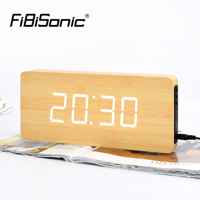Fibisnonic 壁時計モダンなデザイン led デジタル壁時計カレンダー温度家庭用装飾ニキシー時計