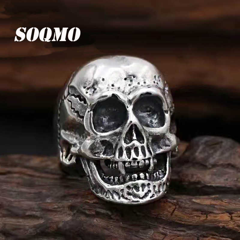 SOQMO Handmade 925 silver Skull ring vintage style sterling silver Skeleton Ring Adjustable man ring male jewelry gift SQM133