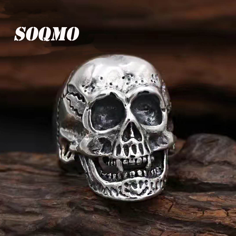 SOQMO Handmade 925 silver Skull ring vintage style sterling silver Skeleton Ring Adjustable man ring male jewelry gift SQM133 цена 2017