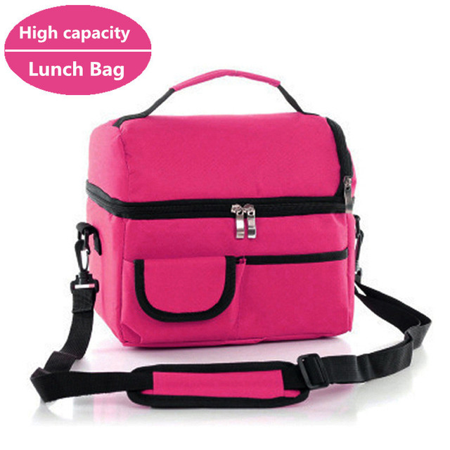 Women Kids Thermal Lunch Bag Box Double Layer Shoulder Thicker insulated Cooler Storage Pack weekend Picnic Food Containers New