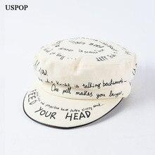 USPOP 2019 Autumn New 100% cotton newsboy caps Letter graffiti soft brim visor cap fashion flat top military octagonal hats