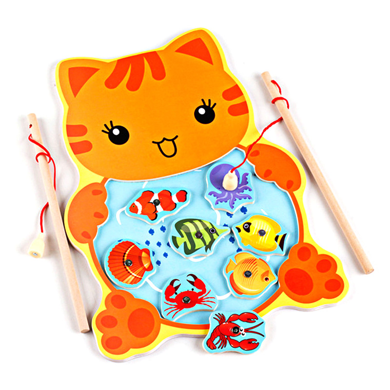 Baby-Kids-Magnetic-Fishing-Toys-with-Rod-Cartoon-Frog-Cat-Fishing-Game-Board-Wooden-Jigsaw-Puzzle-Educational-Toy-Gift-2