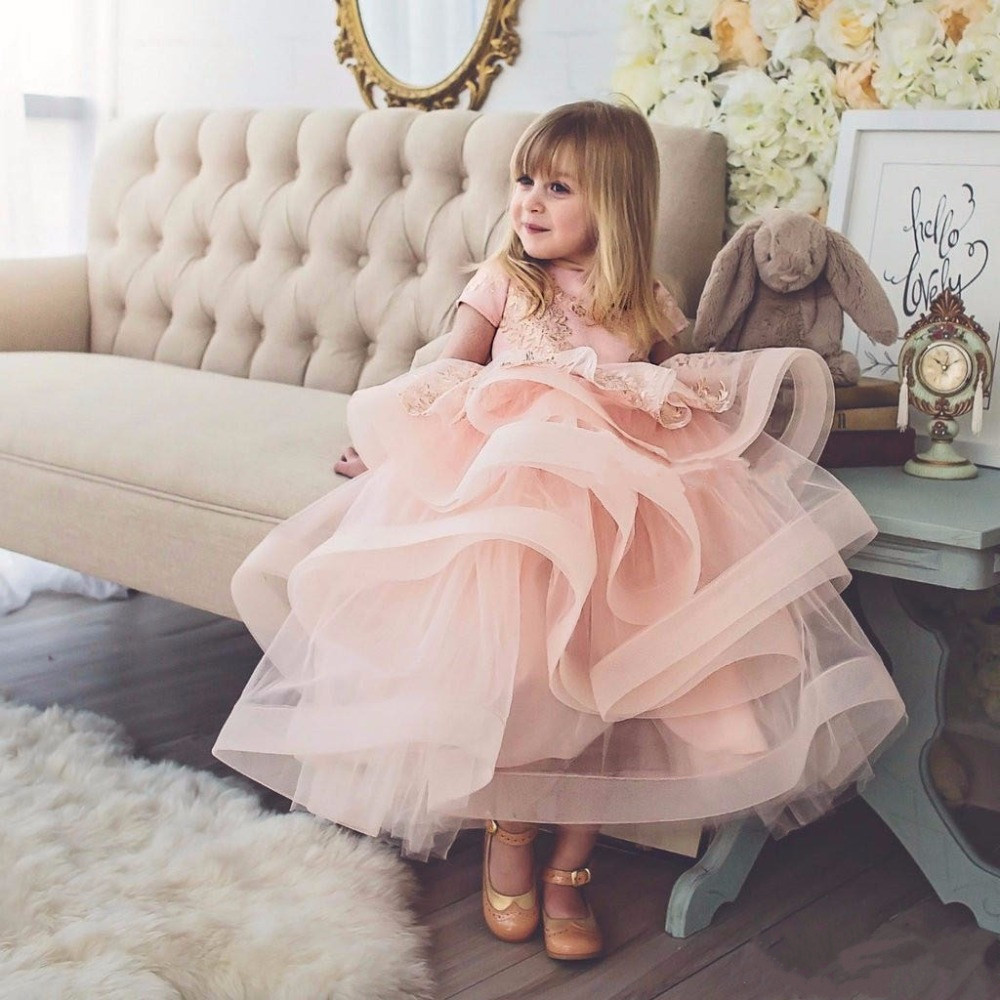 2017 blush pink baby girl birthday dress with lace ruffle tulle toddler pageant party flower girl dress with bow outfits