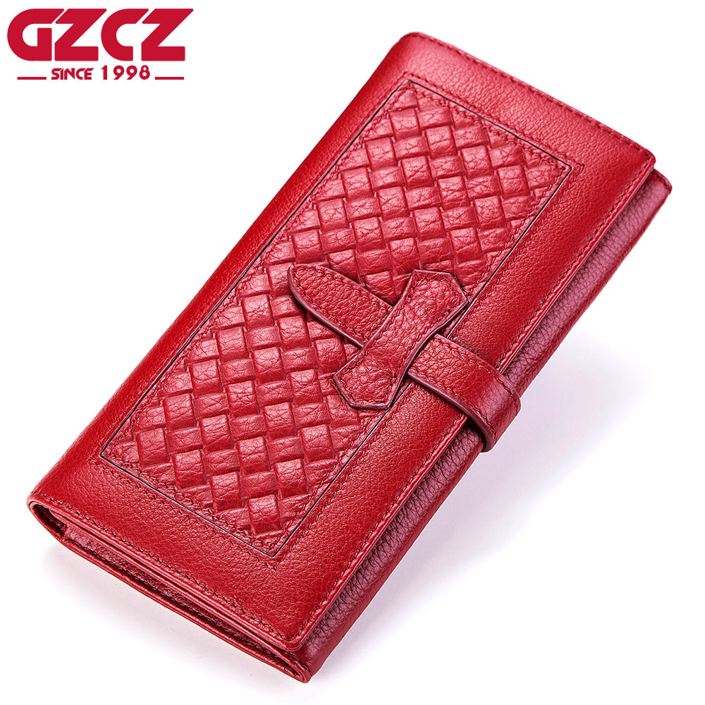 GZCZ 100% Genuine Leather Women Wallets With Zipper Design Coin Purse Card Holder Long Clutch Wallet Fashion Female Phone Bag contacts 2018 new brand design genuine leather woman wallets cell phone card holder female purse clutch women purse with zipper