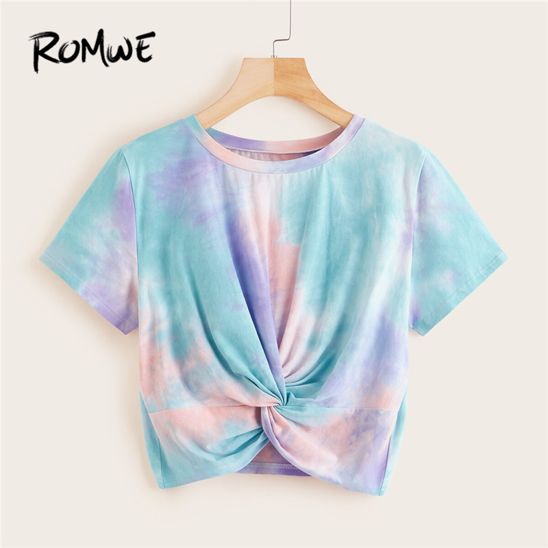 ROMWE Tie Dye Twist Front T Shirt Women Clothes 2019 Casual Round Neck Short Sleeve Summer Crop Tops Ladies  Cute  Tshirt