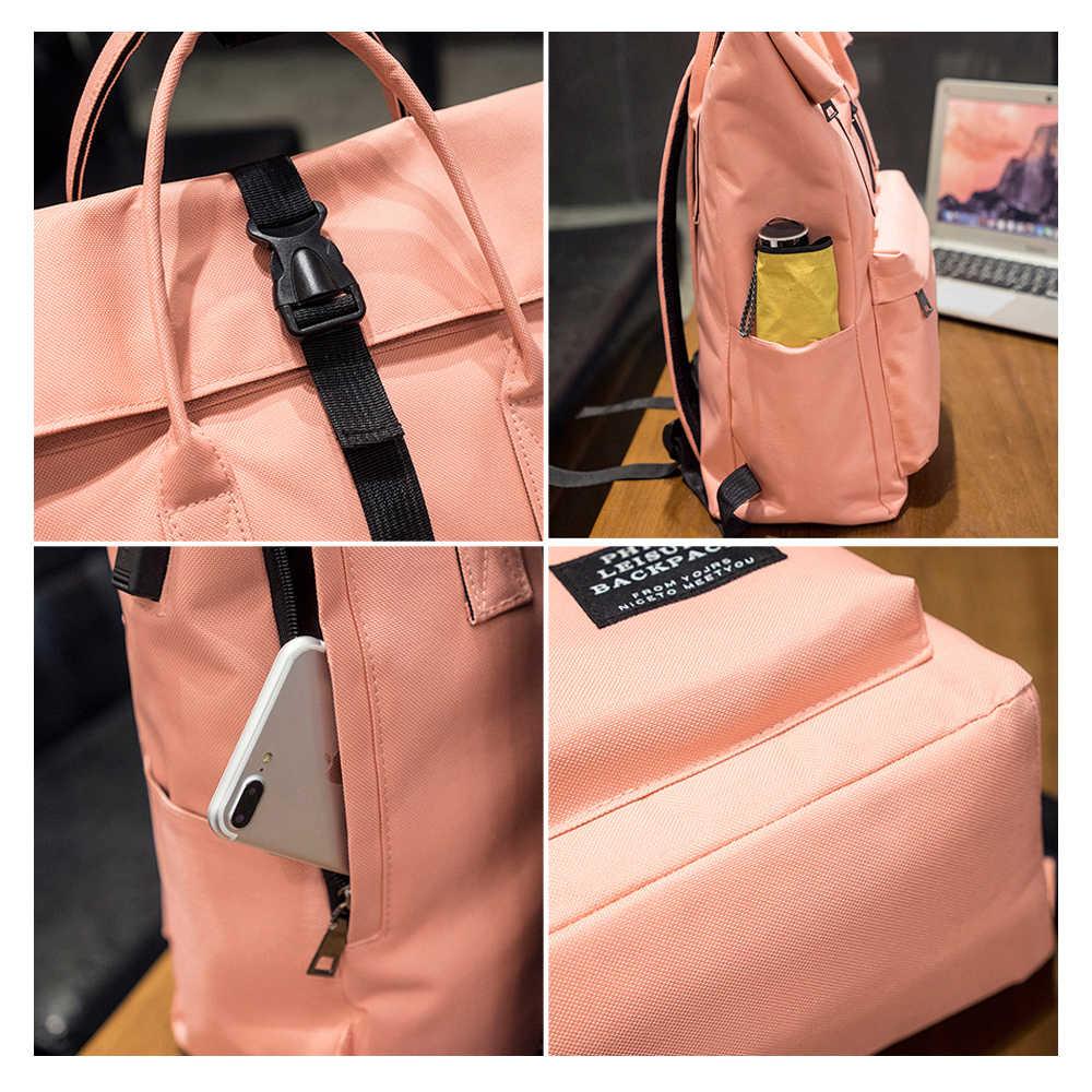 Ttou Nữ Sạc USB Bên Ngoài Ba Lô Canvas Ba Lô Đi Học Mochila Escolar Bé Gái Ba Lô Laptop