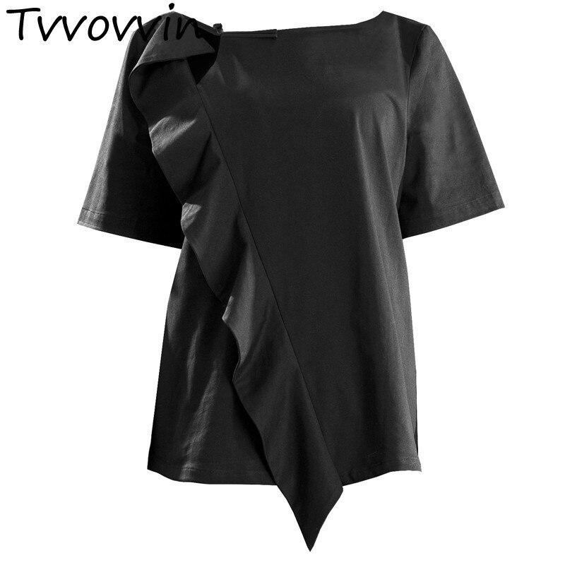 TVVOVVIN femmes T Shirt irrégulière volants évider coton t-shirt femmes asymétrie décontracté coton femmes vêtements 2019 V140