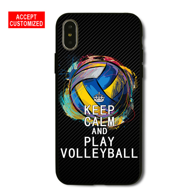 Keep Calm Play Volleyball Cover Case for iPhone 5 5S SE 6 6S 7 8 Plus X XS  Max XR Samsung Galaxy Note 8 9 S6 S7 S8 S9 Edge Plus-in Fitted Cases from