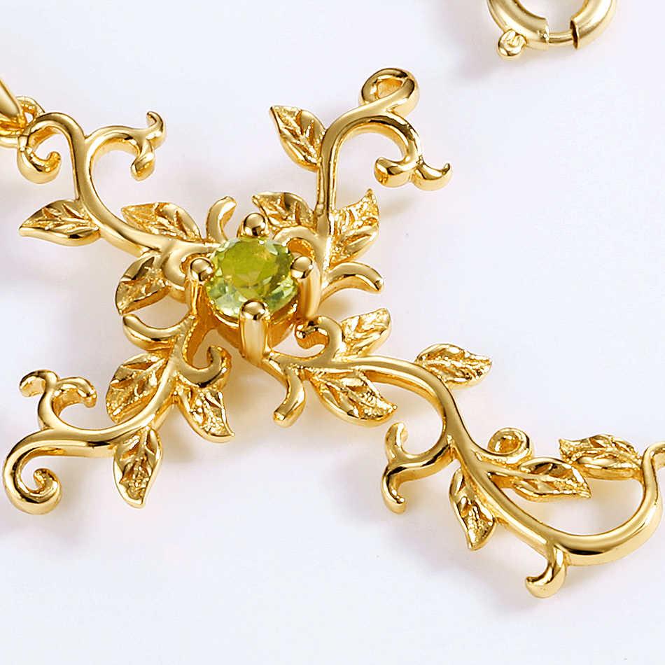 ALLNOEL prawdziwe 925 Sterling Silver Natural Peridot kamień wisiorek winorośli krzyż naszyjnik dla kobiet złoty kolor biżuteria ślubna na prezent