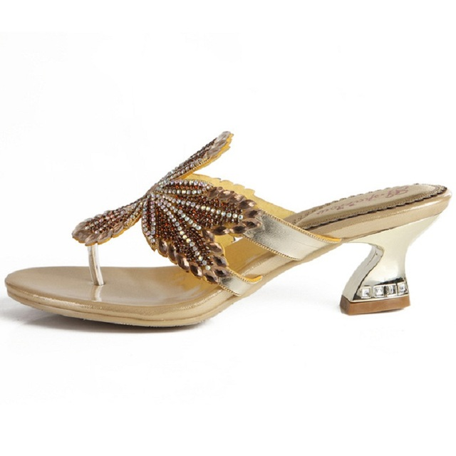 6fe279da67 US $54.45 20% OFF|G sparrow 2018 Summer New Fashion Rhinestones Princess  Sandals Women Thick Heel Slippers Shoes Gold Silver Black 8cm-in Slippers  ...