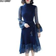 Для женщин шифоновое платье 2018 Весна Флора печати Трикотажные патч работы с расклешенными рукавами темно-синий Elagant тонкий повседневные платья с