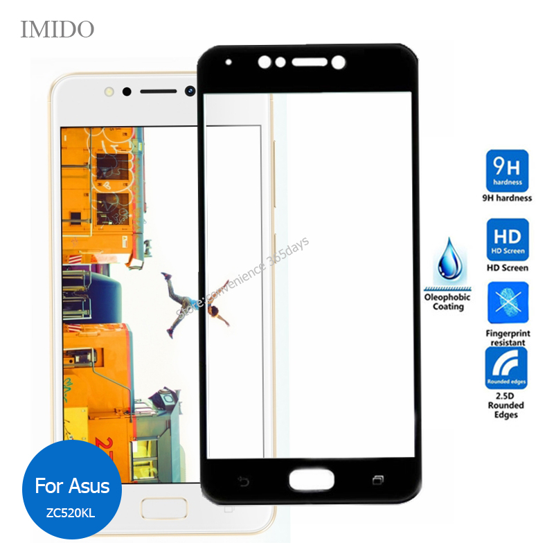 For Asus Zenfone 4 Max Zc520KL Full Cover Tempered Glass Screen Protector 9h All Coverage Glass Film On <font><b>ZC520</b></font> <font><b>KL</b></font> 520KL 5.2Inch image