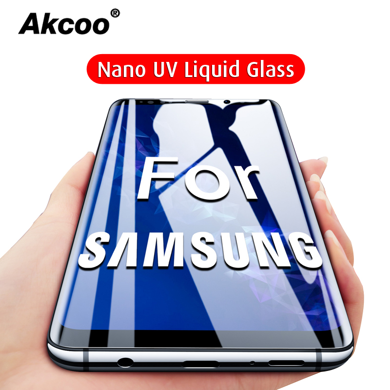 Akcoo S9 Screen Protector Tempered Glass Full Cover Film For Samsung Galaxy S8 9 Note 8 9 Screen Protector For S10 Plus UV Glass