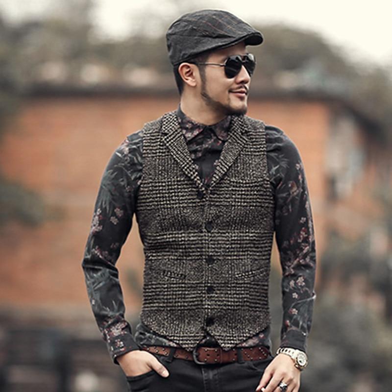 2018 Mens winter slim plaid European style vintage suit ...