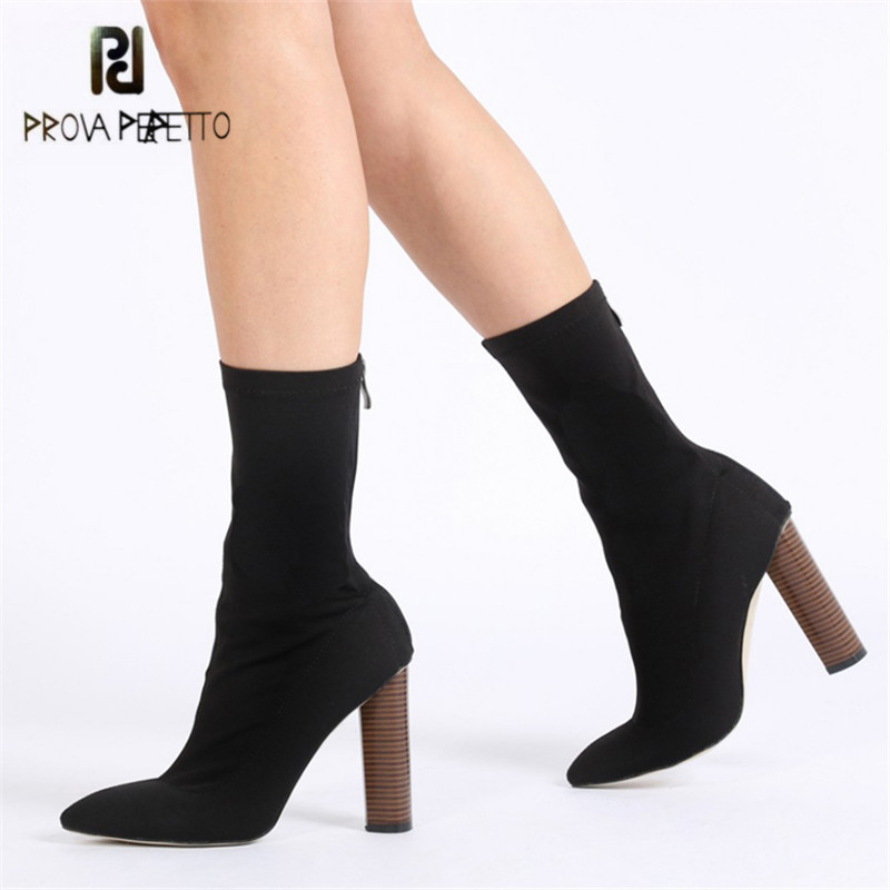 Prova Perfetto Stretch Fabric Women Ankle Boots 11CM Chunky High Heel Elastic Sock Boot Pointed Toe Female Back Zip High Heels jady rose stretch fabric autumn booties chunky high heels pointed toe ankle boots knit sock rubber women high boot women pumps