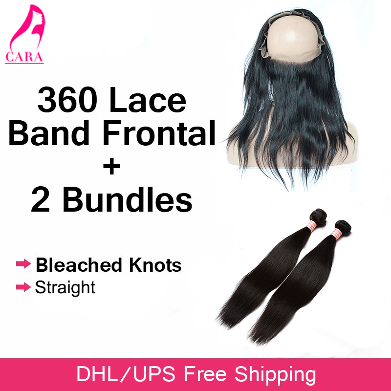 ФОТО 360 Lace Frontal With Bundle Straight Hair With Closure Pre Plucked Lace Frontal Malaysian Virgin Hair With Closure CARA Hair