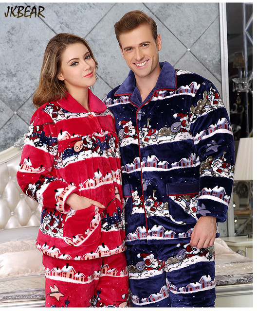 lovely santa claus pattern matching christmas pajamas for couples thicken cotton x mas pjs plus