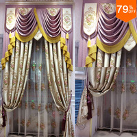 2017 Purple princess's Liviong Room Hook Style with valance Curtain Lady curtain for Luxury Girl Room holy London queen Curtain