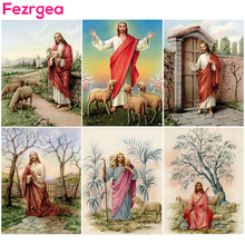 Fezrgea 5D DIY Diamond Painting Full Drill Round Church Pastor Cross Stitch Home Decoration Embroidery