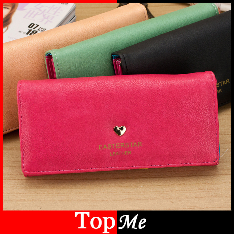 New arrivals Fashion women wallet long cards ID holders Cute heart lady handbag moneybags Soft PU leather purse clutch wallets