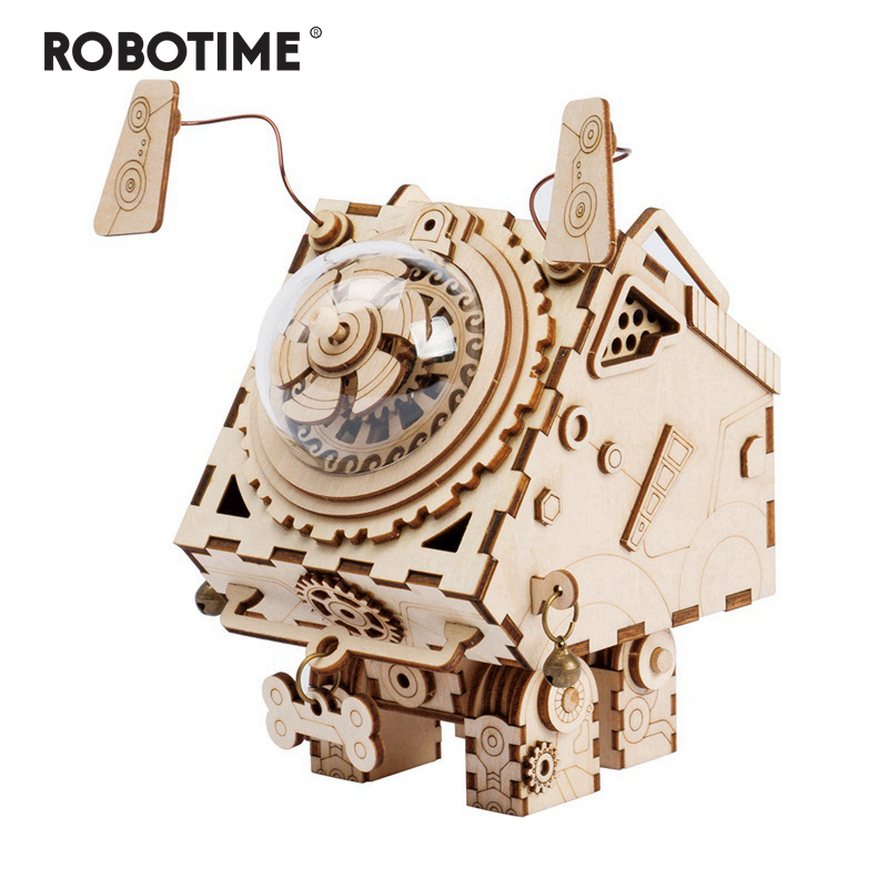 Robotime 3D Puzzle DIY Movement Wooden dogs Model toys for Children girl boys brain training Music Box Seymour AM480