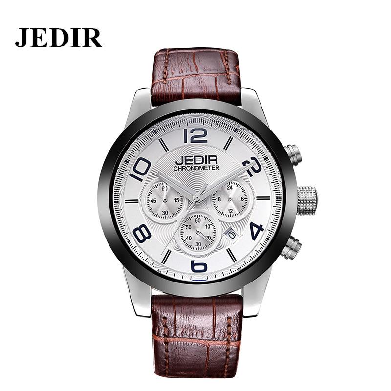 ФОТО JEDIR 2016 Brand Quartz Wristwatch Men Fashion Leather Watches Big Alloy Dial Three Small Dail Digital Date Display Reloj Hombre
