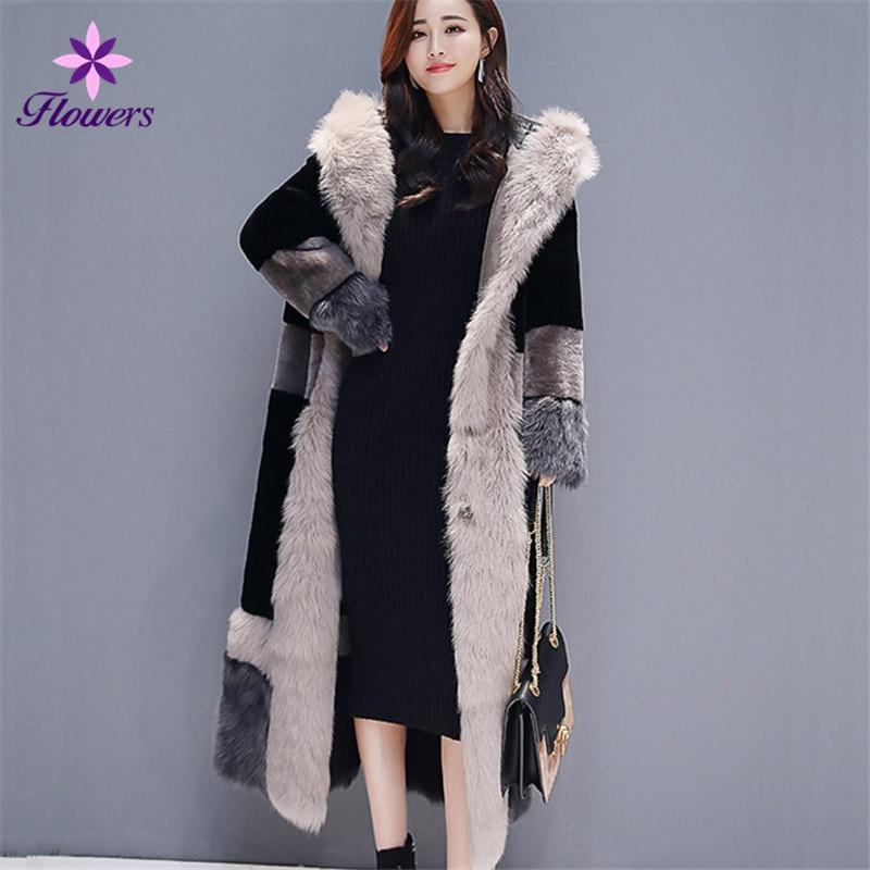FLOWERS New Autumn Winter Faux Fur Coat Women Clothes Plus Size Big fur collar Hooded Fashion Elegant Thick Warm Fur Long Coat