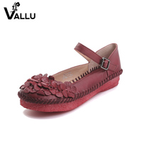 Leather Flower Women Flats 2017 Summer Women S Shoes Genuine Leather Round Toes Buckle Handmade Retro